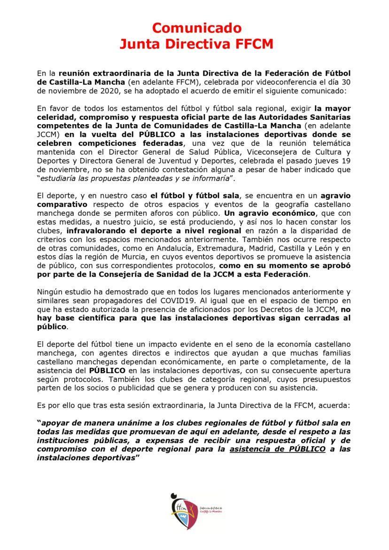 La FFCM reclama una respuesta rápida a las autoridades sanitarias sobre la entrada de público a sus competiciones