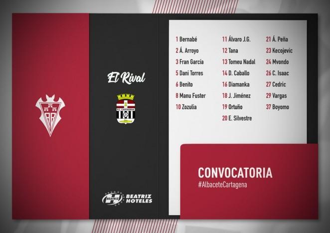 Convocatoria del Alba para el partido frente al Cartagena FC