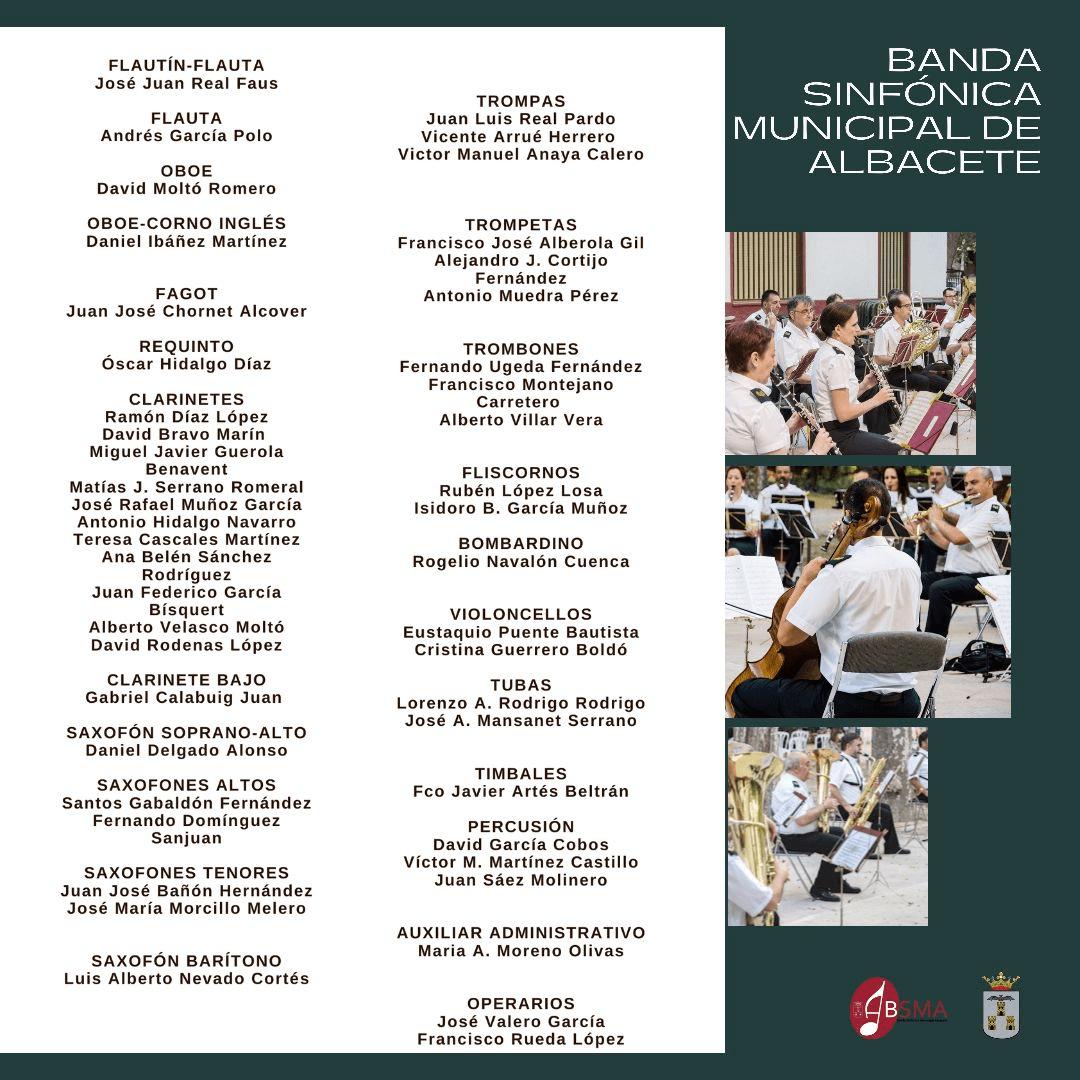 Concierto extraordinario de la Banda Sinfónica Municipal de Albacete